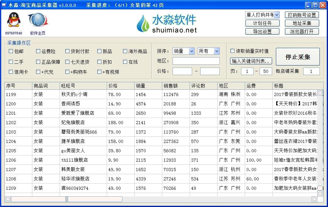 水淼淘宝商品采集器分析电商行情必备软件v3.3.10.0营销版