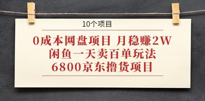 0成本网盘项目 月稳赚2W+闲鱼一天卖百单玩法+6800京东撸货...